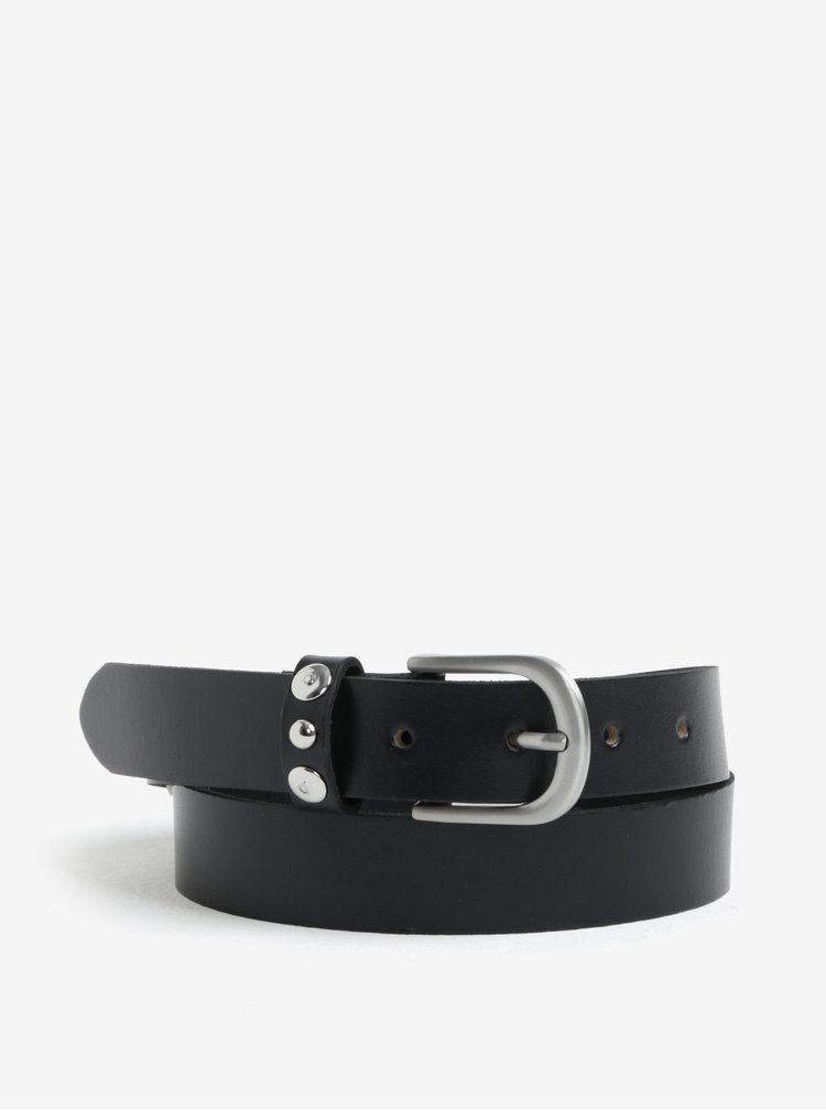 Černý kožený pásek Pieces Imran