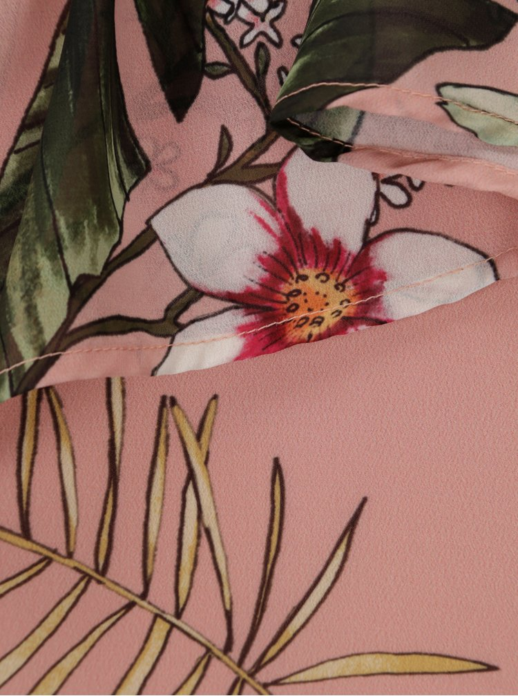 Starorůžové květované šaty na jedno rameno ONLY Maya