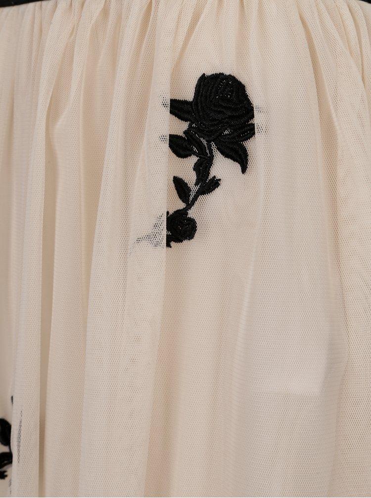 Béžová sukně s květinovou výšivkou ONLY Lana