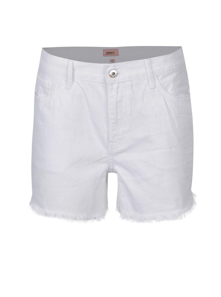 Pantaloni scurti din denim albi cu franjuri ONLY Divine
