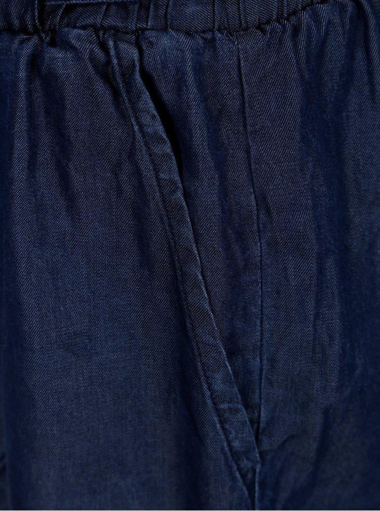 Tmavě modré kraťasy s vázáním v pase ONLY Smilla