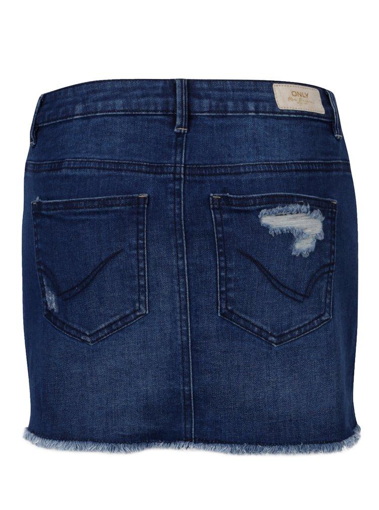Modrá džínová minisukně s potrhaným efektem ONLY Eliza