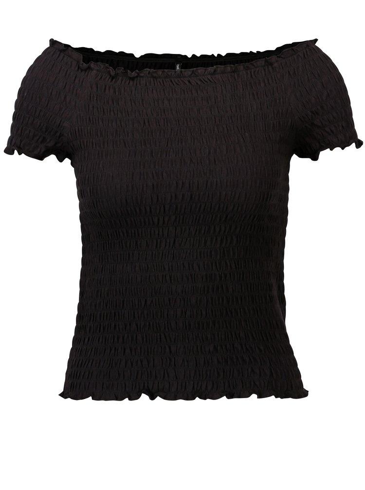 Bluza cropped neagra cu umeri expusi ONLY Sammi