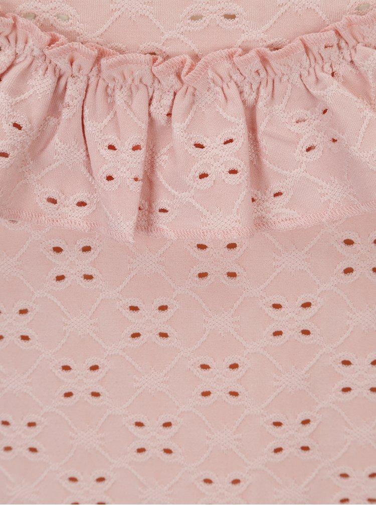 Světle růžové krajkové tílko s volánem Jacqueline de Yong Cathinka