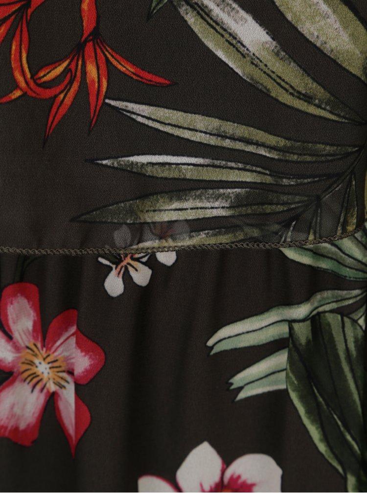 Tmavě zelené květované maxišaty ONLY Maya