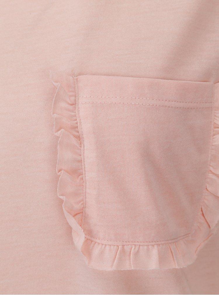 Tricou roz cu  buzunar la piept Jacqueline de Yong Calm