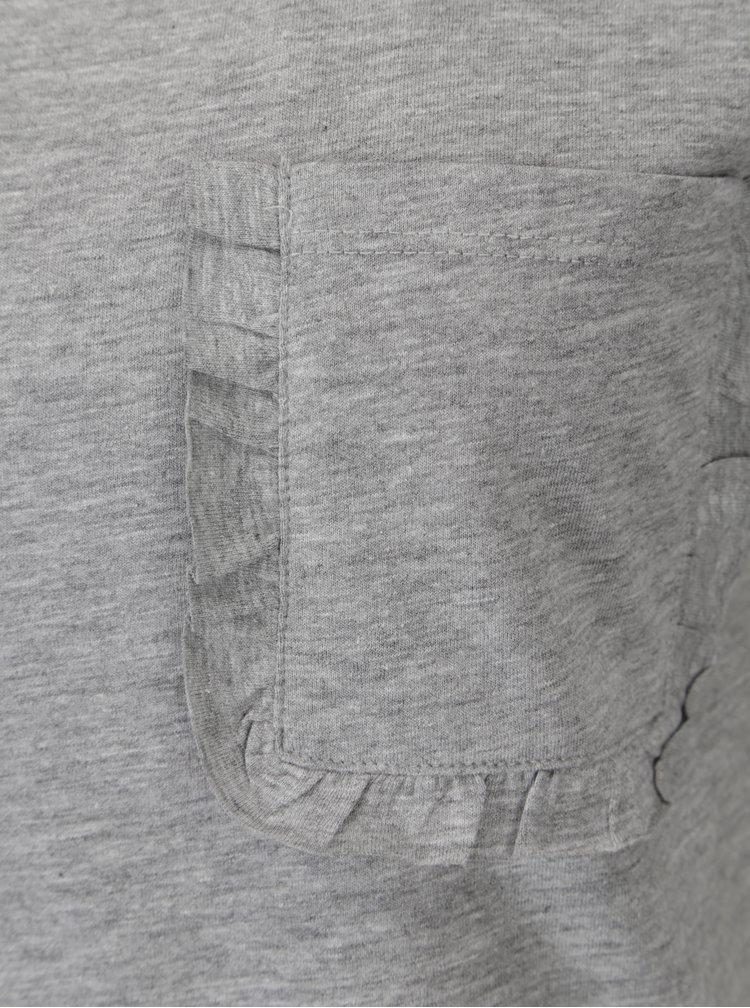 Šedé žíhané tričko s kapsou Jacqueline de Yong Calm