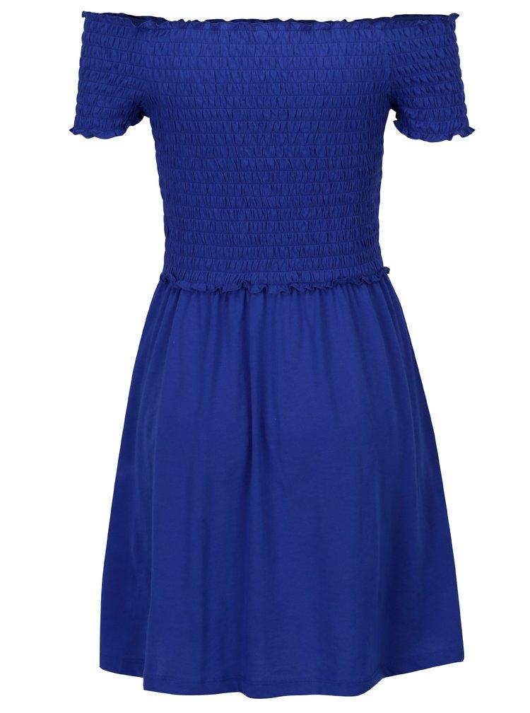 Tmavě modré šaty s odhalenými rameny ONLY Naomi