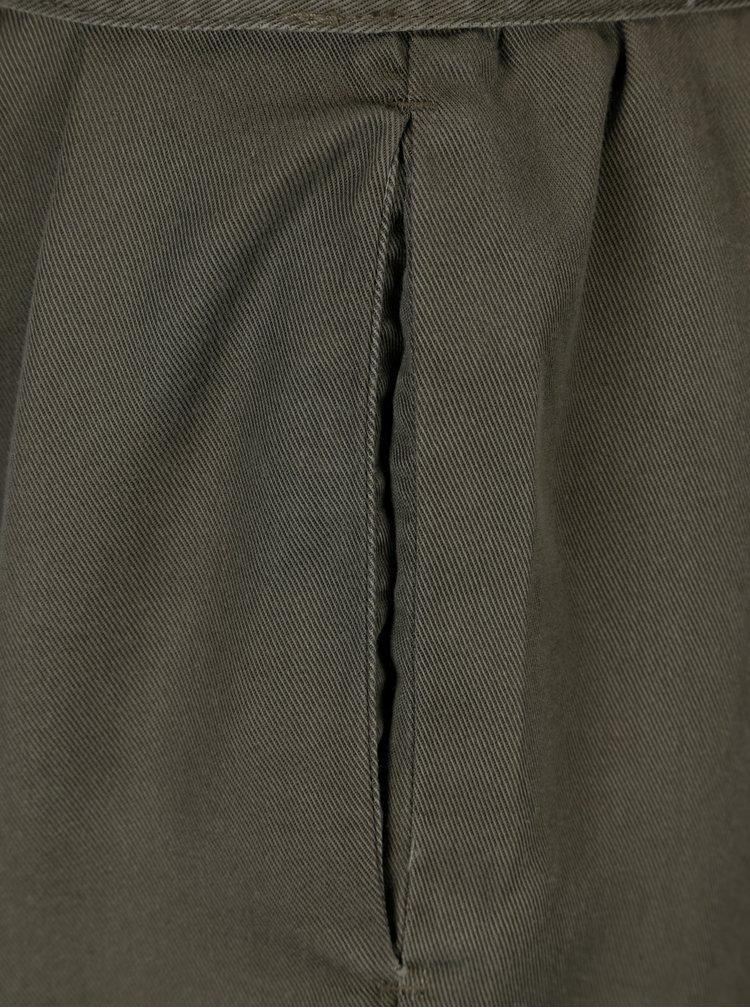 Khaki volné kraťasy s vysokým pasem ONLY Kira