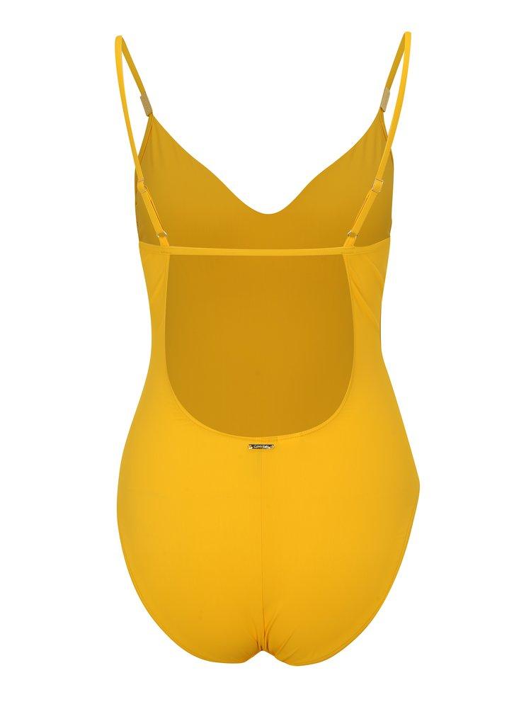 Žluté jednodílné plavky Calvin Klein