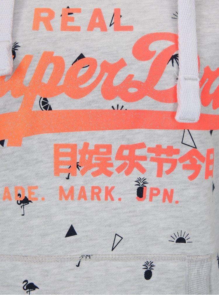 Hanorac gri melanj cu print pentru femei - Superdry