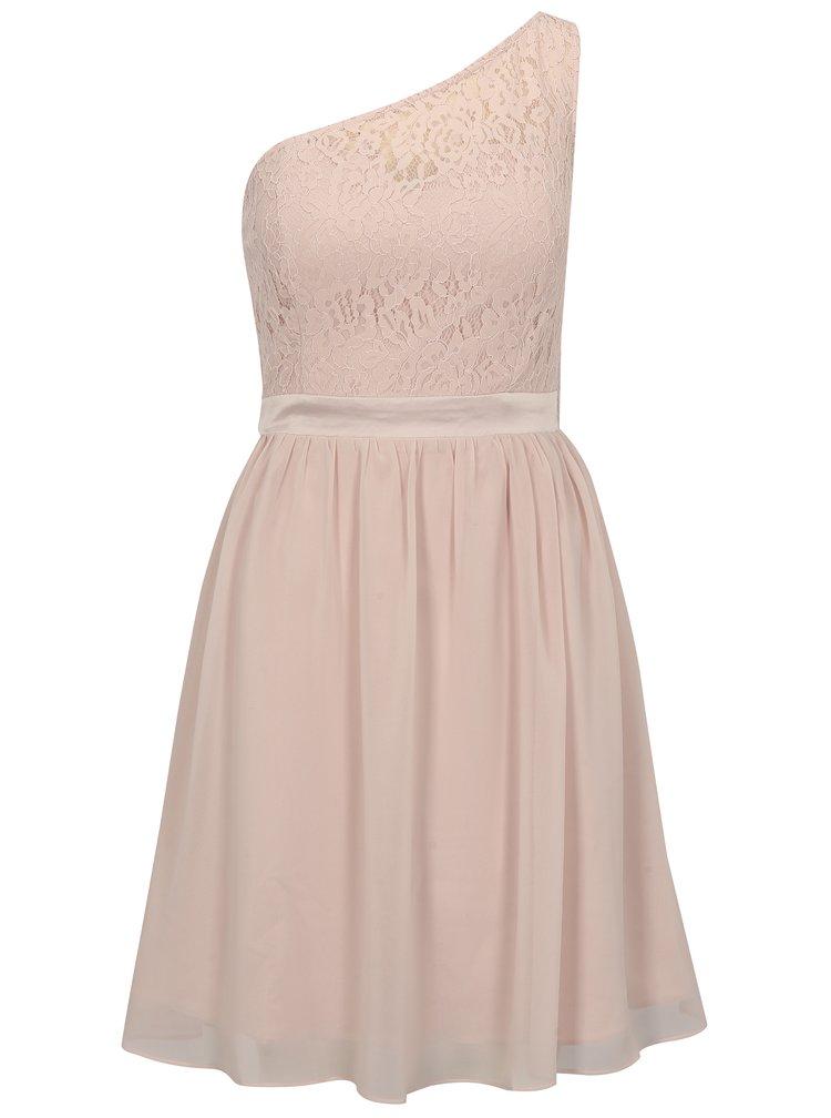Světle růžové šaty na jedno rameno Dorothy Perkins