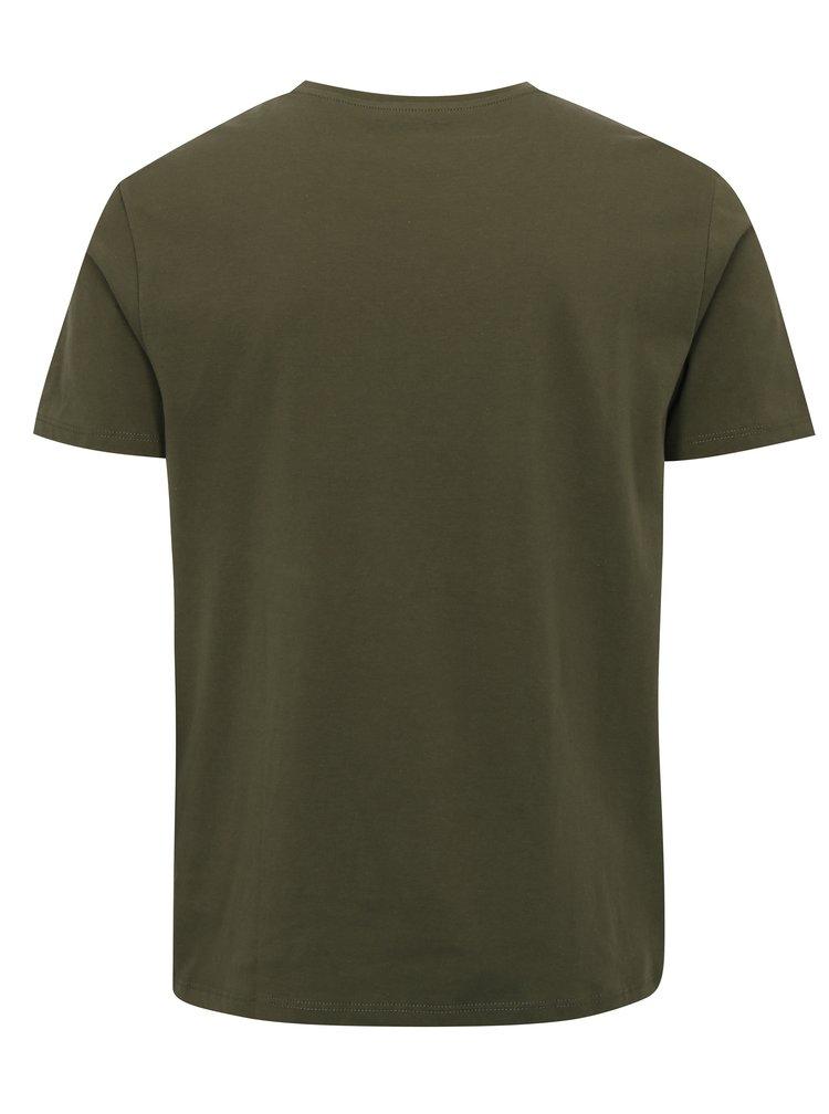 Khaki regular fit tričko Burton Menswear London