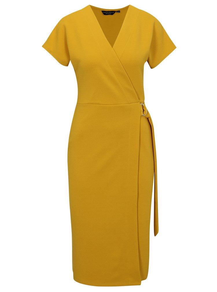 Žluté šaty s překládaným výstřihem Dorothy Perkins