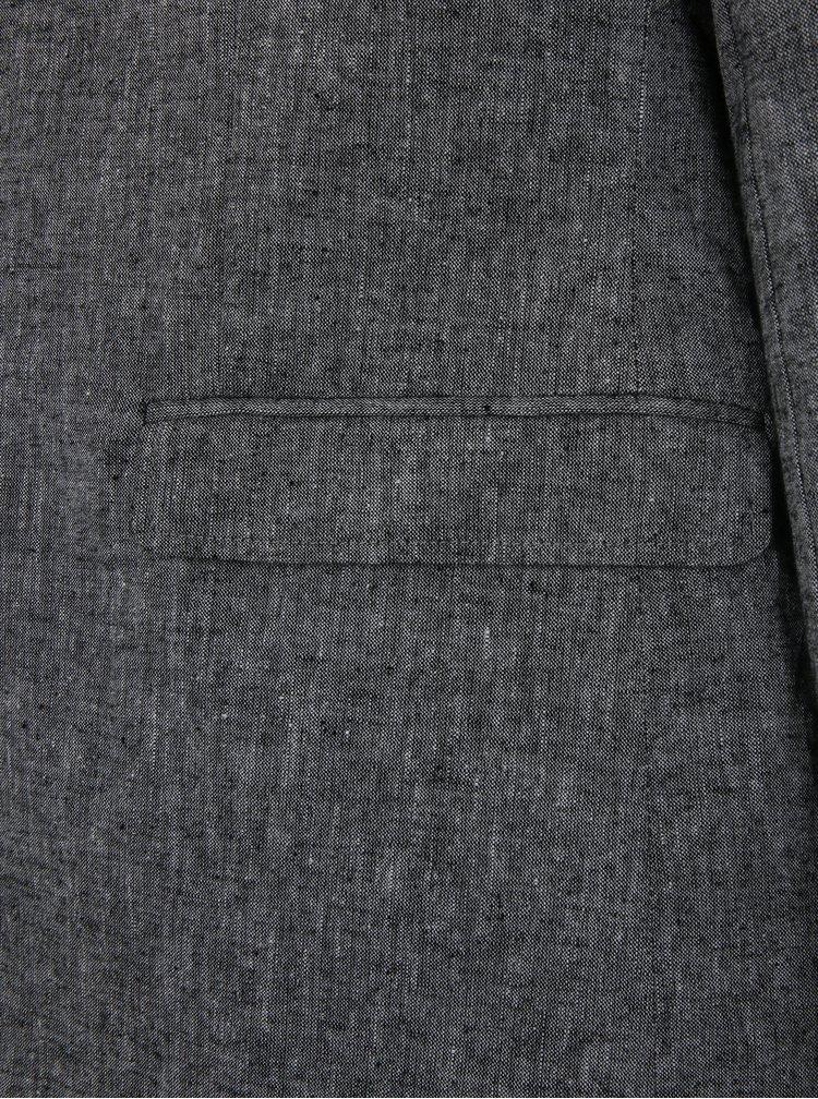 Tmavě šedé žíhané lněné sako Selected Homme One Juan
