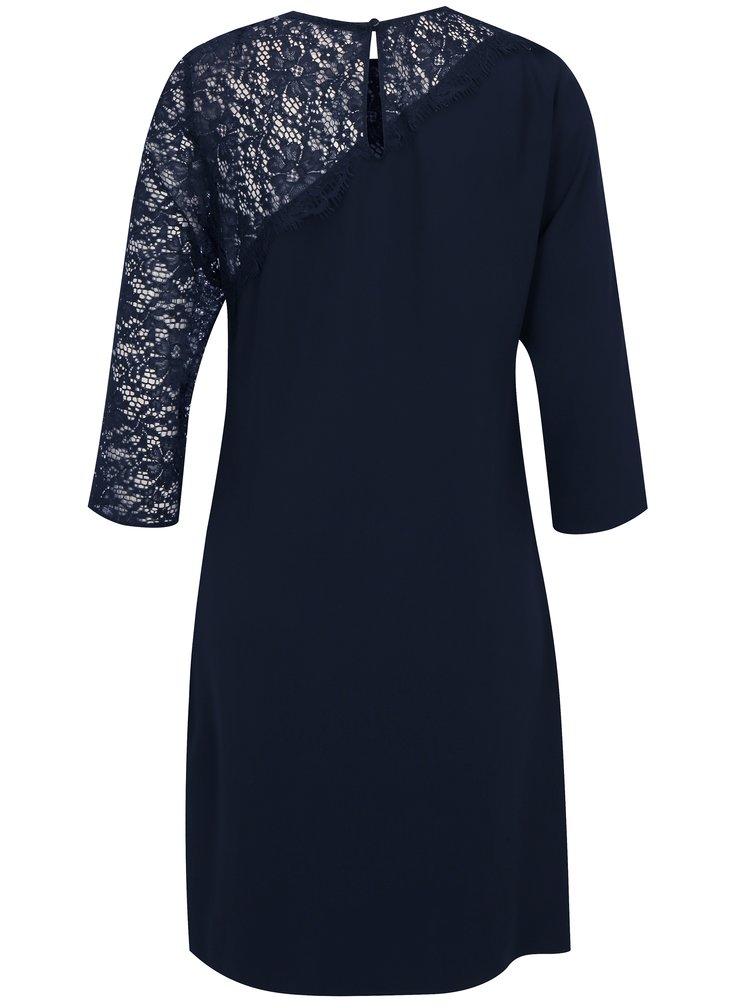 Tmavě modré šaty s 3/4 rukávem a krajkou Dorothy Perkins