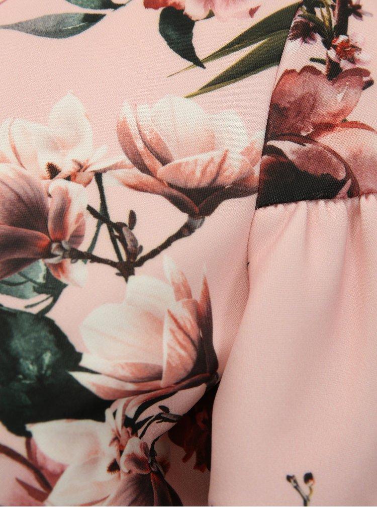 Světle růžové květované šaty s volány Dorothy Perkins