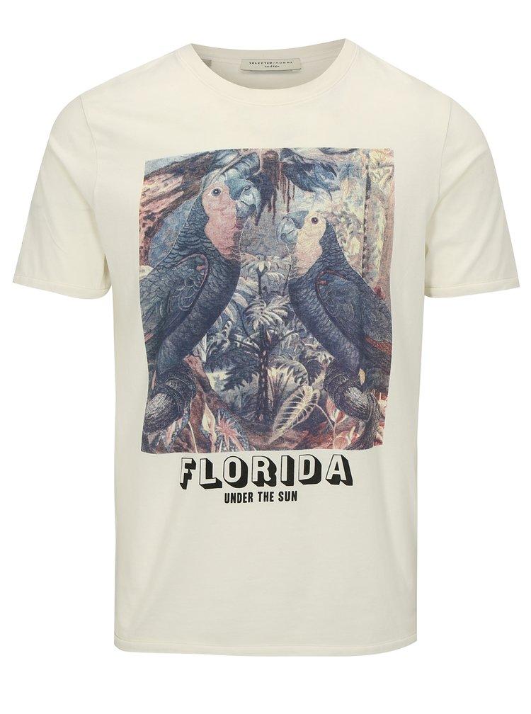 Bílé tričko s potiskem Selected Homme New Austin