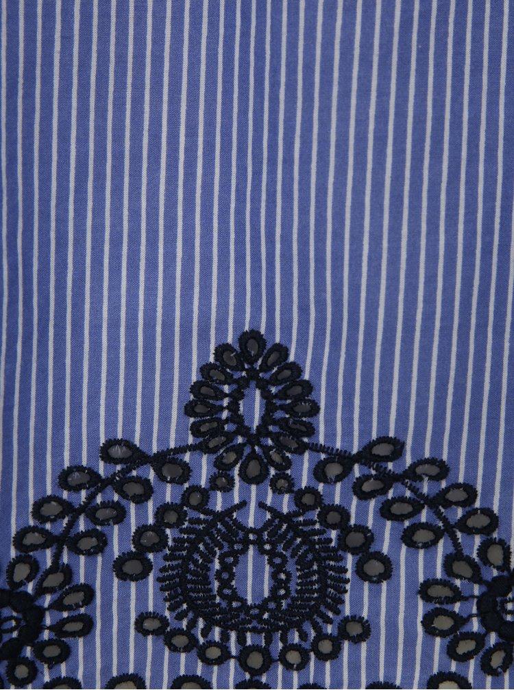 Modrá pruhovaná halenka s odhalenými rameny Dorothy Perkins