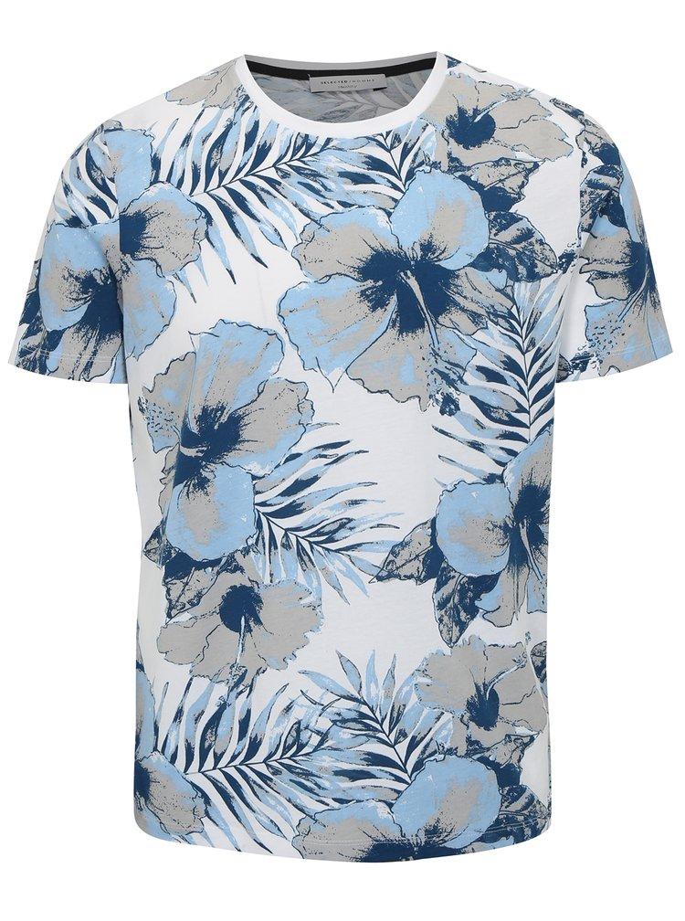 Modro-bílé květované tričko Selected Homme Flower