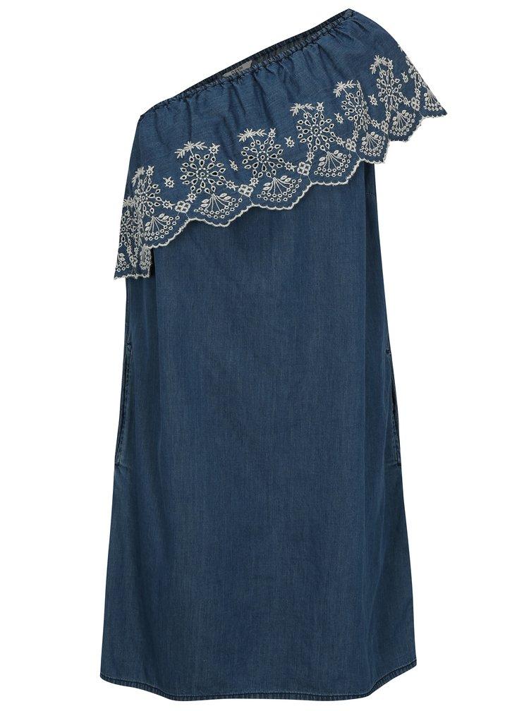 Modré šaty přes jedno rameno Dorothy Perkins
