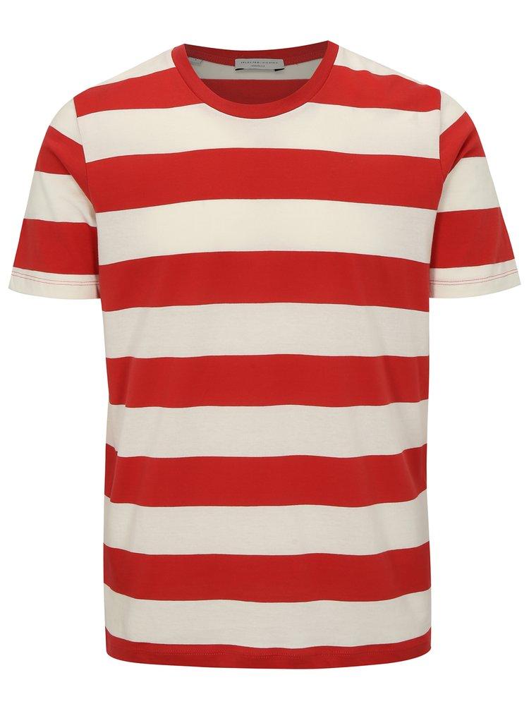 Bílo-červené pruhované tričko Selected Homme The Perfect
