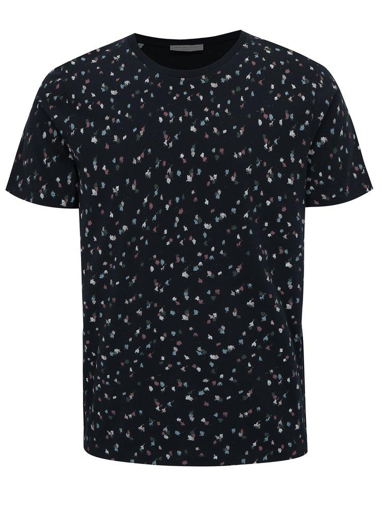 Tricou bleumarin cu print - Selected Homme Sum