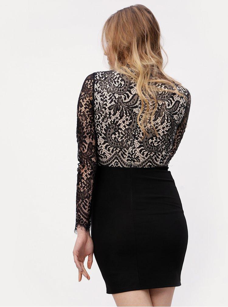 Béžovo-černé krajkové šaty s dlouhým rukávem MISSGUIDED