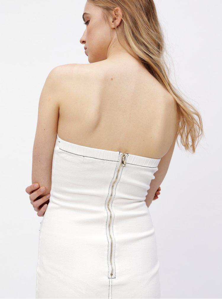 Rochie scurta alba din denim cu cusaturi decorative - MISSGUIDED