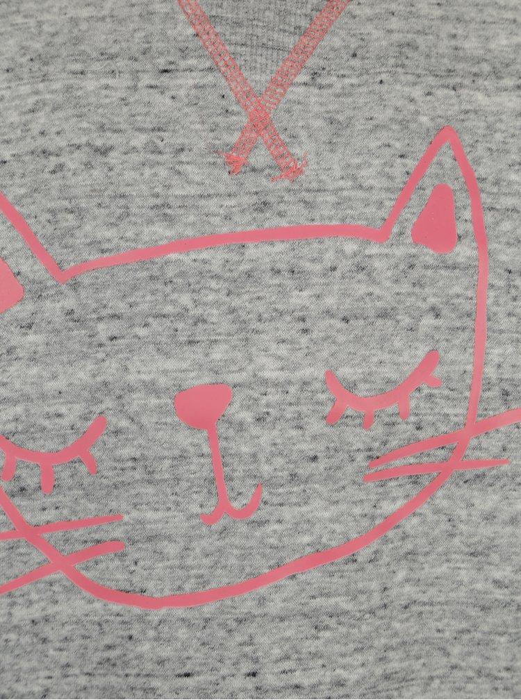Šedá žíhaná holčičí mikina s potiskem 5.10.15.