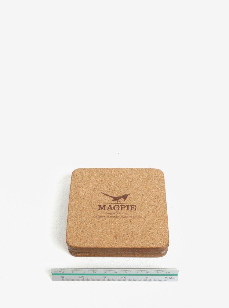 Sada čtyř podtácků s motivem ptáků Magpie Birds