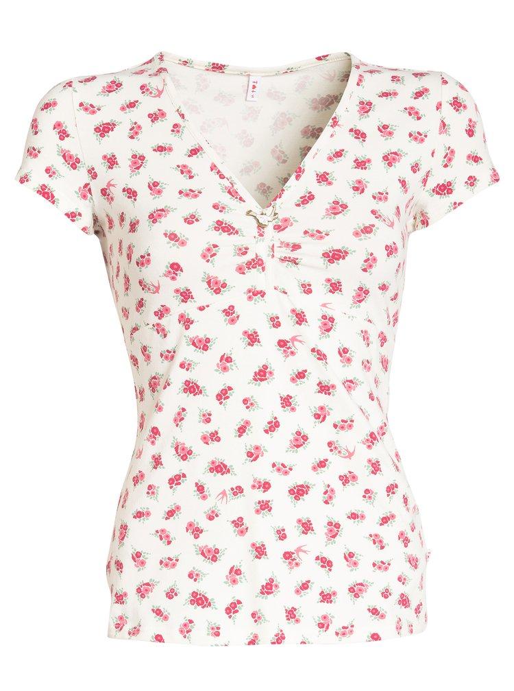 Krémové květované tričko s véčkovým výstřihem Blutsgeschwister