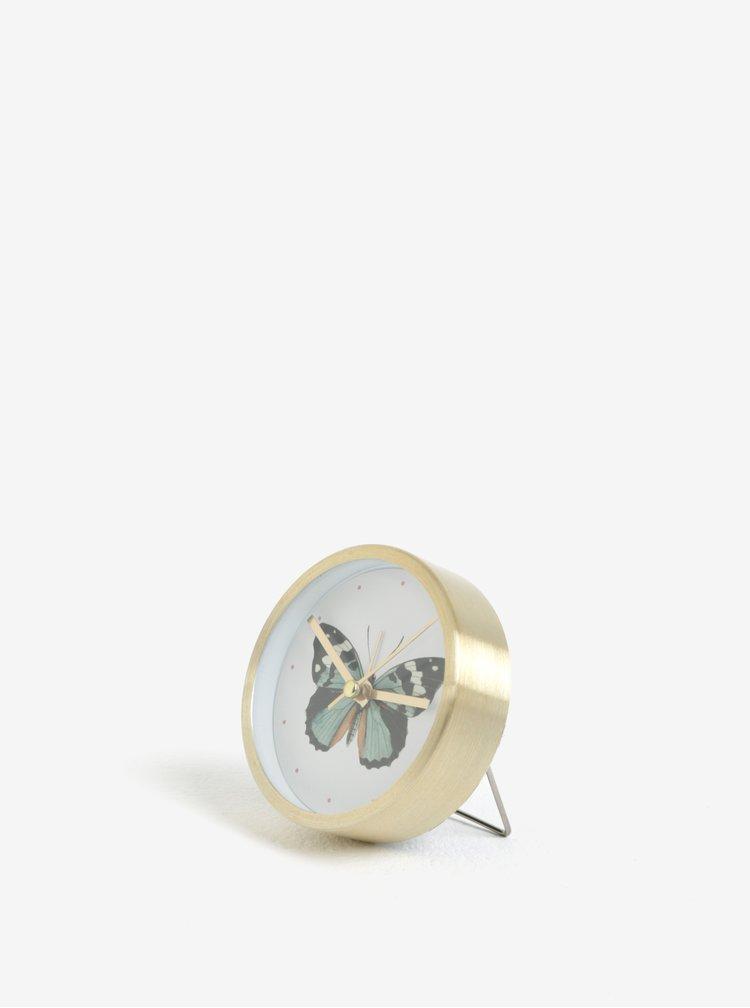 Černo-bílý budík s motivem motýla Magpie Butterfly