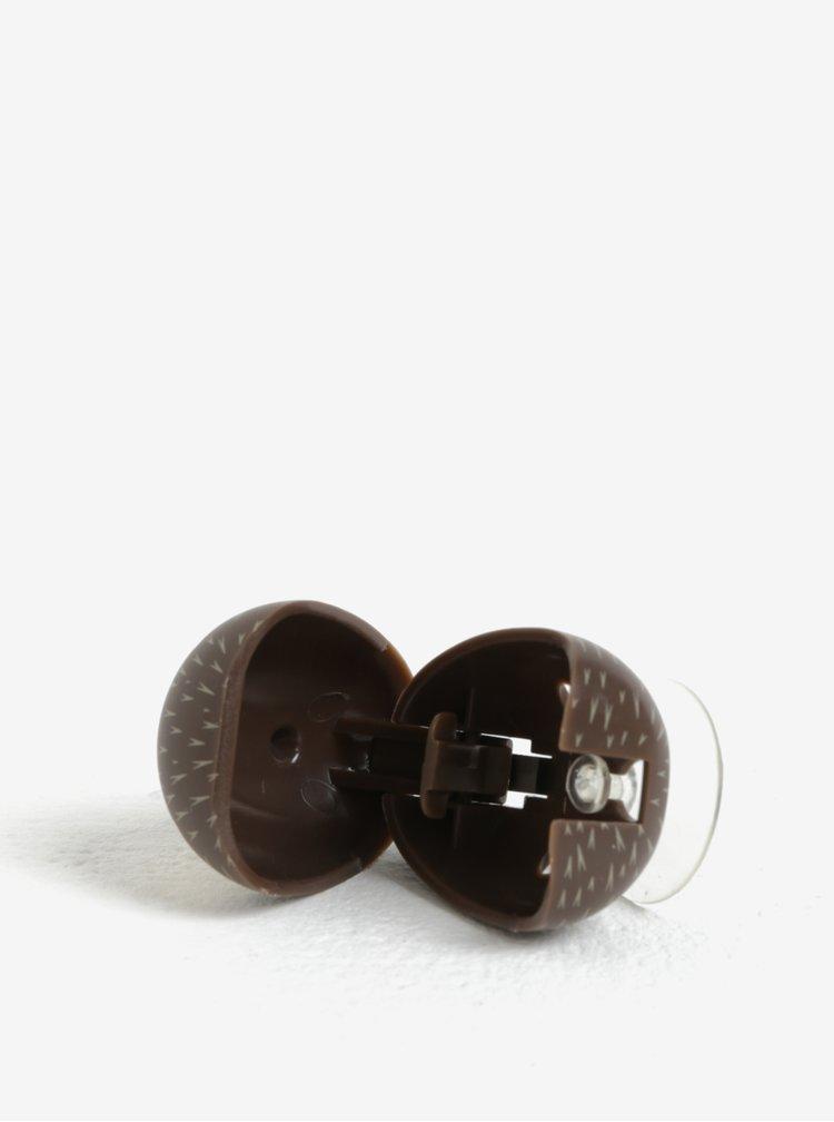 Hnědý držák na zubní kartáček Kikkerland Hedgehog