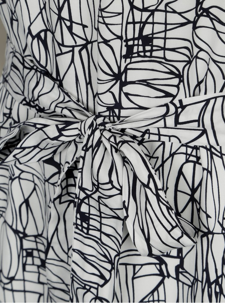 Rochie alba cu print abstract si cordon in talie - Selected Femme Gramms