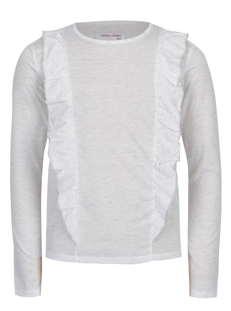Bílé holčičí žíhané tričko s volány 5.10.15.