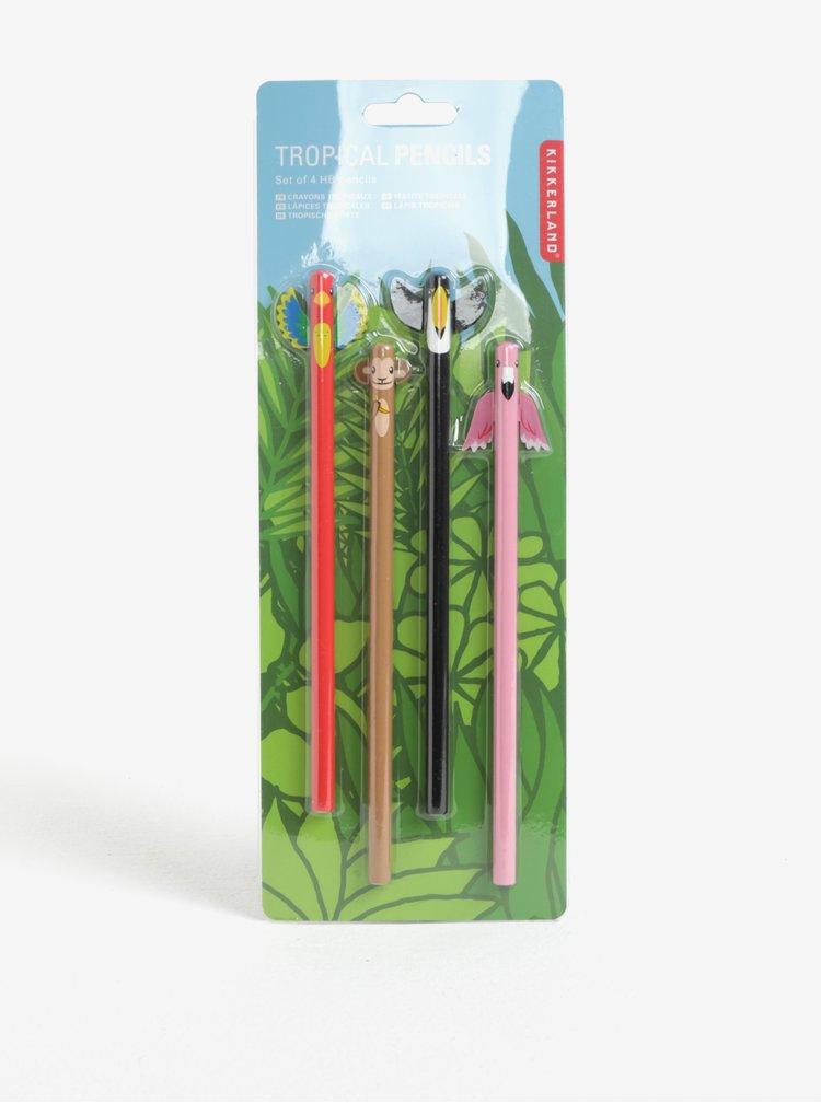 Sada čtyř tužek s motivy exotických zvířat Kikkerland