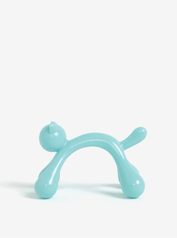 Světle modrá masážní pomůcka ve tvaru kočky Kikkerland