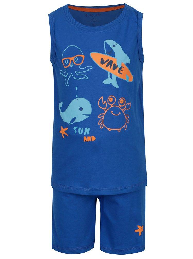 Modré klučičí dvoudílné pyžamo s potiskem 5.10.15.