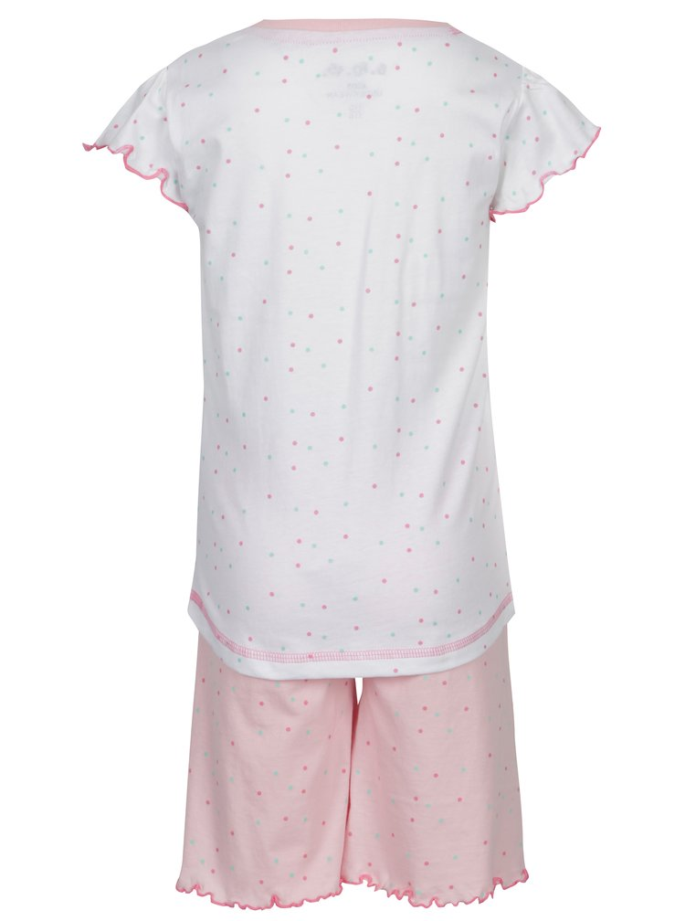 Růžovo-bílé holčičí dvoudílné puntíkované pyžamo s potiskem 5.10.15.