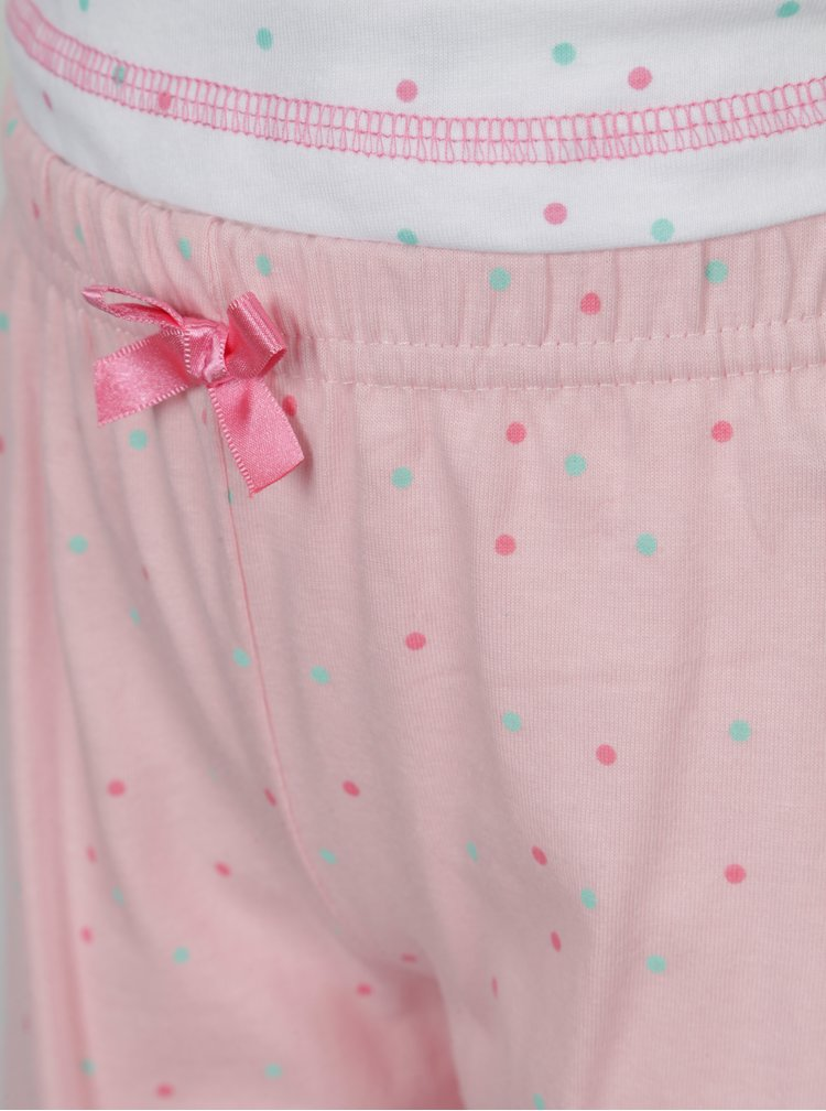 Růžovo-bílé holčičí puntíkované pyžamo s potiskem 5.10.15.