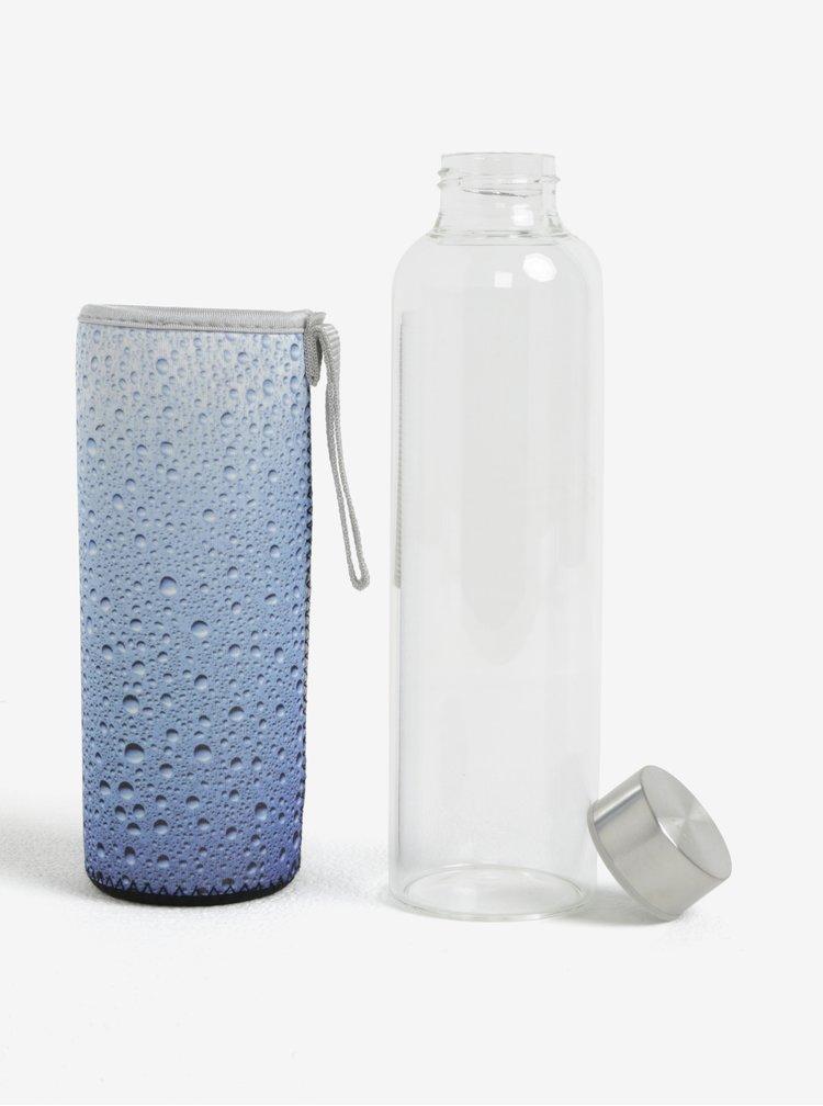 Skleněná lahev v modrém termo obalu Kikkerland 591 ml