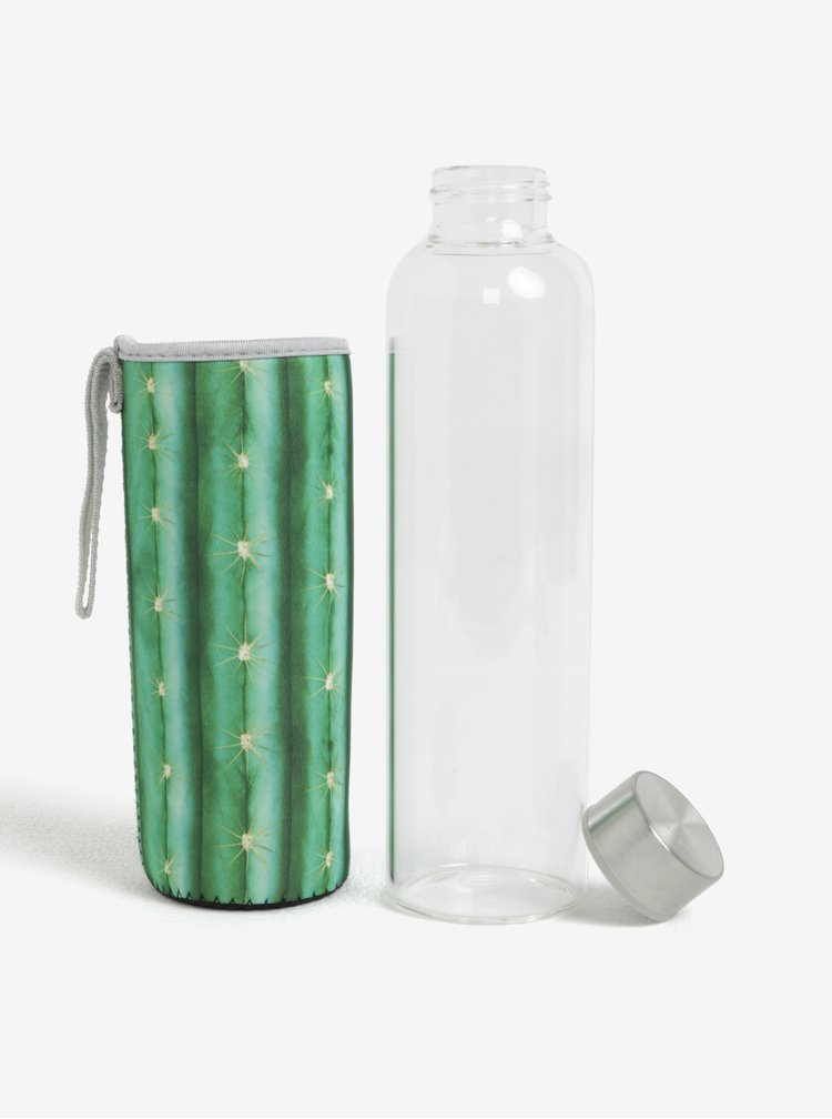 Skleněná lahev v zeleném termo obalu Kikkerland