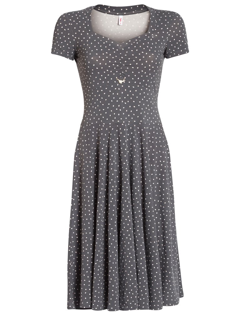 Tmavě šedé puntíkované šaty s krátkým rukávem Blutsgeschwister