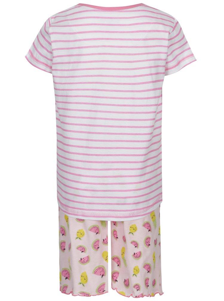 Bílo-růžové holčičí dvoudílné pruhované pyžamo s potiskem 5.10.15.