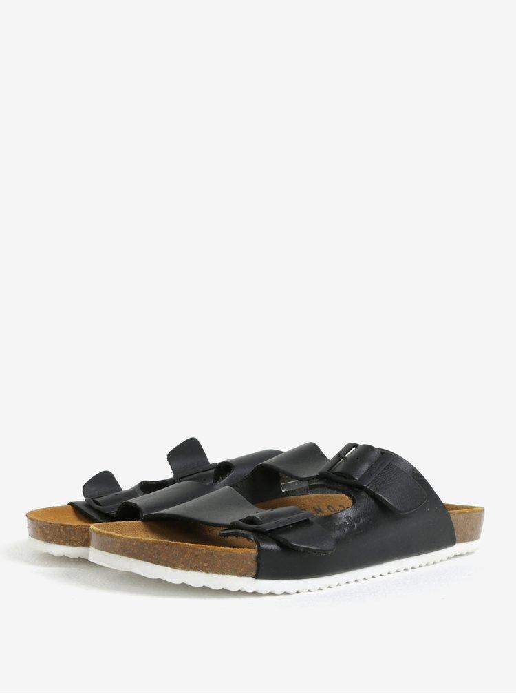 Černé pánské kožené pantofle Pepe Jeans Bio basic