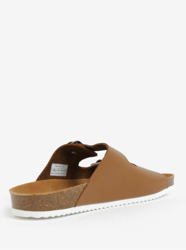 Světle hnědé pánské kožené pantofle Pepe Jeans Bio basic