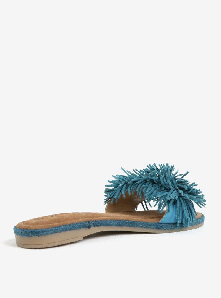 Tyrkysové kožené pantofle s třásněmi Tamaris