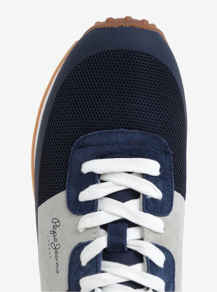 Šedo-modré semišové pánské tenisky Pepe Jeans Garret Sailor