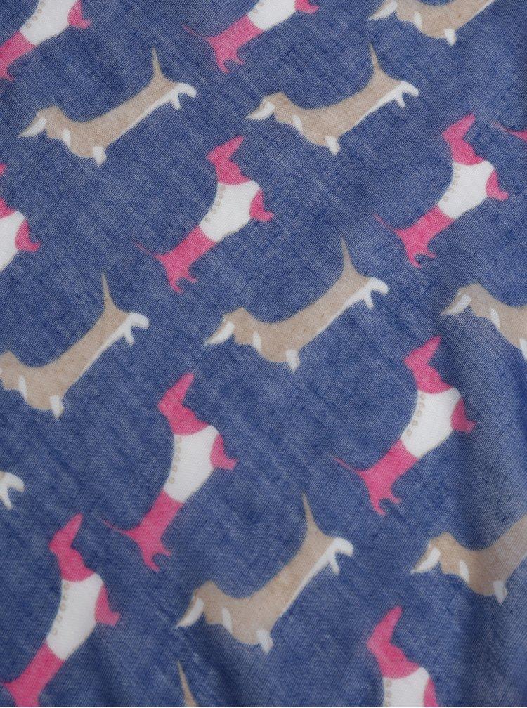 Tmavě modrý holčičí šátek s bambulemi a motiv jezevčíků 5.10.15.
